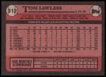 1989 Topps #312  Tom Lawless  Back Thumbnail