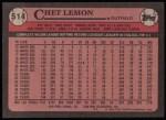 1989 Topps #514  Chet Lemon  Back Thumbnail