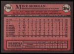 1989 Topps #788  Mike Morgan  Back Thumbnail