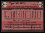 1989 Topps #512  Donnie Hill  Back Thumbnail