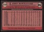 1989 Topps #259  Larry McWilliams  Back Thumbnail