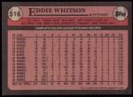 1989 Topps #516  Eddie Whitson  Back Thumbnail