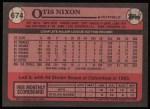 1989 Topps #674  Otis Nixon  Back Thumbnail