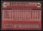 1989 Topps #108  Fred Manrique  Back Thumbnail