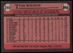 1989 Topps #269  Tom Bolton  Back Thumbnail