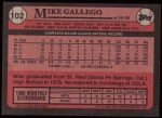 1989 Topps #102  Mike Gallego  Back Thumbnail