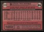 1989 Topps #310  Rafael Palmeiro  Back Thumbnail
