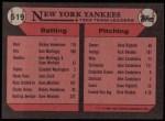 1989 Topps #519   -  Willie Randolph Yankees Leaders Back Thumbnail