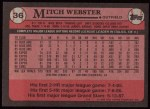 1989 Topps #36  Mitch Webster  Back Thumbnail