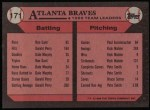 1989 Topps #171   -  Andres Thomas Braves Leaders Back Thumbnail