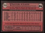 1989 Topps #783  Trevor Wilson  Back Thumbnail
