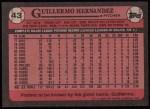 1989 Topps #43  Guillermo Hernandez  Back Thumbnail