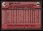 1989 Topps #133  Bill Long  Back Thumbnail