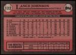 1989 Topps #122  Lance Johnson  Back Thumbnail