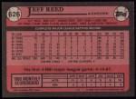 1989 Topps #626  Jeff Reed  Back Thumbnail