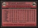 1989 Topps #653  Tommy Barrett  Back Thumbnail