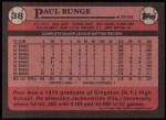 1989 Topps #38  Paul Runge  Back Thumbnail