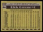 1990 Topps #303  Rick Cerone  Back Thumbnail