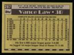 1990 Topps #287  Vance Law  Back Thumbnail