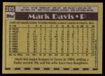 1990 Topps #205  Mark Davis  Back Thumbnail