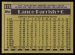 1990 Topps #575  Lance Parrish  Back Thumbnail