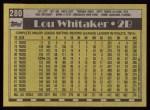 1990 Topps #280  Lou Whitaker  Back Thumbnail