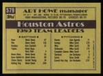 1990 Topps #579  Art Howe  Back Thumbnail