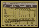 1990 Topps #552  Mike (Miss.) Smith  Back Thumbnail