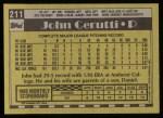 1990 Topps #211  John Cerutti  Back Thumbnail