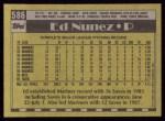1990 Topps #586  Edwin Nunez  Back Thumbnail