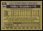 1990 Topps #92  Mike Stanley  Back Thumbnail