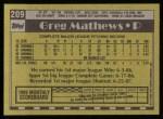 1990 Topps #209  Greg Mathews  Back Thumbnail