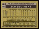 1990 Topps #410  Joe Boever  Back Thumbnail