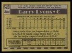 1990 Topps #258  Barry Lyons  Back Thumbnail