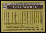 1990 Topps #320  Dave Stieb  Back Thumbnail