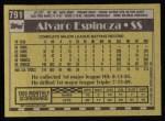 1990 Topps #791  Alvaro Espinoza  Back Thumbnail