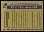 1990 Topps #271  Chet Lemon  Back Thumbnail