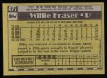 1990 Topps #477  Willie Fraser  Back Thumbnail