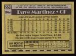 1990 Topps #228  Dave Martinez  Back Thumbnail