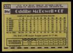 1990 Topps #329  Oddibe McDowell  Back Thumbnail