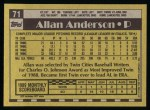 1990 Topps #71  Allan Anderson  Back Thumbnail