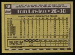 1990 Topps #49  Tom Lawless  Back Thumbnail