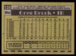 1990 Topps #139  Greg Brock  Back Thumbnail