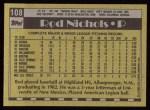 1990 Topps #108  Rod Nichols  Back Thumbnail