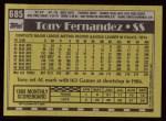 1990 Topps #685  Tony Fernandez  Back Thumbnail