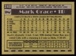 1990 Topps #240  Mark Grace  Back Thumbnail