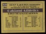1990 Topps #639  Tony La Russa  Back Thumbnail