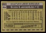 1990 Topps #172  Tom Lampkin  Back Thumbnail