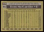 1990 Topps #326  Tom McCarthy  Back Thumbnail