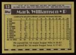 1990 Topps #13  Mark Williamson  Back Thumbnail